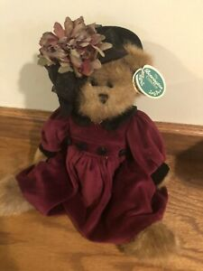 """BEARINGTON COLLECTION Bear KARLIE Jointed Plush 14"""" Flowered Hat - W/ Orig Tags"""