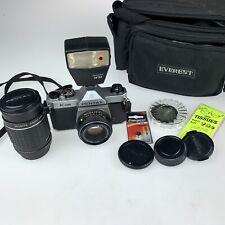 Pentax K1000 35mm SLR Camera Kit w/ 50mm Lens 135mm lens Flash + Extras