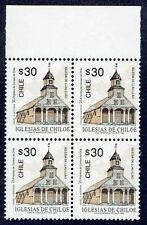 CHILE 1993 STAMP # 1602 MNH BLOCK OF FOUR HERITAGE CHILOE'S CHURCH