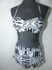Neuer Damen Push-Up Bikini Gr.XL Schwarz/Weiß High Waist Neckholder