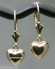 Pure 14K Yellow Gold Leverback Earrings Dangling Puffed Heart 1g Very Cute 23mm