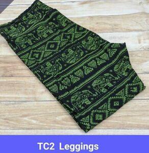 Lularoe Womens Leggings TC2 Green Elephant On Black