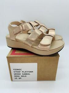 Vionic Women's Tami Metallic Back-Strap Platform Wedge Sandals - Rose Gold US 6M