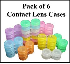 6 Contact Lens Lenses Case Storage Soaking Mini Travel Eye Care L/R Marked UK