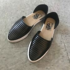 Vans Slip On Skimmer Moto Leather Black Women's Shoes Size 5.5