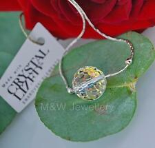 925 STERLING SILVER CHAIN NECKLACE WITH SWAROVSKI Elements DISCO BALL CRYSTAL AB