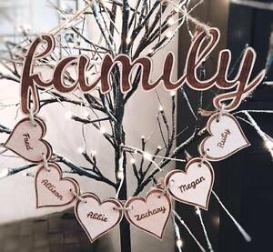 Beautiful Personalised Family Plaque Wooden Hearts Gift hanging decoration names