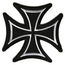 Embroidered Maltese Cross Sew or Iron on Patch Biker Patch