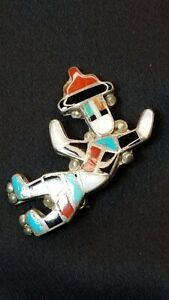 Sterling Southwestern Kachina Dancer Knifewing War God Stone Inlay Pin MOP Onyx