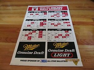 NICE  1992-93 CHICAGO BULLS SCHEDULE POSTER MILLER BREWING COMPANY 17-94132EH