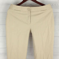 Talbots Curvy Women's Size 6 Stretch Solid Beige Cropped Tapered Pants