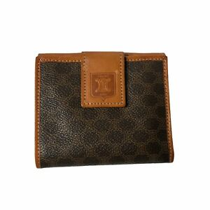 Celine Macadam Pattern Wallet PVC Leather Brown Bifold with Coin Purse