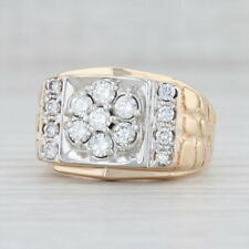 Men's 1ctw Diamond Cluster Nugget Ring 14k Yellow White Gold Size 10 Wedding