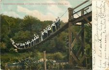 Starved Rock IL~Men in White Shirts Crowd Suspension Bridge At Deer Park~1906