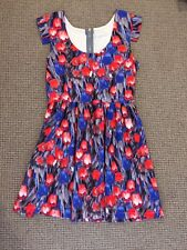 MOSSMAN Womens Dress 10 Floral Sleeveless Pretty Party Clubbing Red Blue Grey