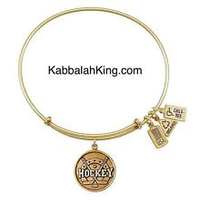 Wind & Fire Hockey Sport Charm Gold Expandable Bangle Bracelet Made In USA