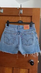 Levi Pale Blue Authentic Cut Off Denim Shorts Size 8