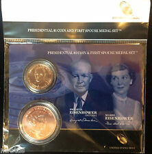 2015 DWIGHT & MAMIE EISENHOWER IKE Presidential $1 Coin First Spouse Medal Set
