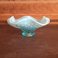 Vintage Fenton Blue Opalescent Glass Hobnail Two Handled Bowl