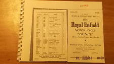 Royal Enfield Prince 1959 Spares List 56-00147 [3-75]