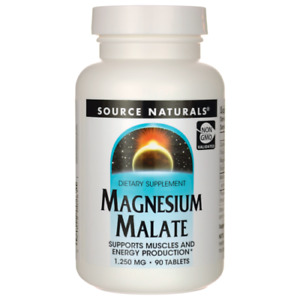 Source Naturals Magnesium Malate, 1,250 mg, 180 Tablets Nervous System Support.