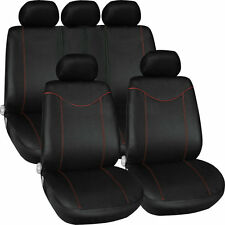 11 pcs Full Seat Cover Set Car Seat Cover Low Front Back Set Black + Red Edge RX