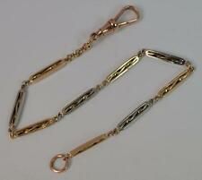 "Victorian 9ct Gold Fancy Link Pocket Watch Chain 7 1/4"" Long Bracelet t0931"