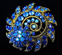 3D SPIRAL Flower ROYAL Blue AB Rhinestone Blue Retro SWIRL Brooch