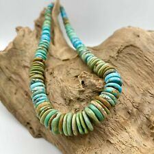 Natural Turquoise blue Green turquoise donut shape necklace