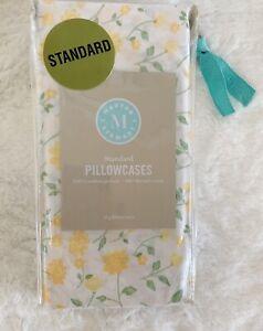 Martha Stewart Standard Pillowcases Yellow & Green Floral 20x30 2pc NEW