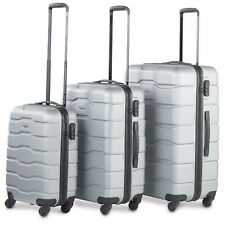 VonHaus Luggage Set of 3 ABS Lightweight Hard Shell Suitcase - 4 Wheel 360° SP Silver