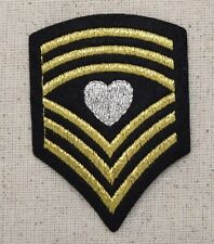 Chevron Black/Gold/Silver Heart - Military - Iron on Applique/Embroidered Patch