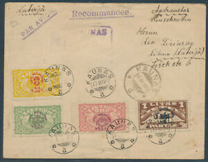 Litauen Kriegswaisen Flugpostmarken Kaunas 1924 Einschreiben nach Lettland (4528
