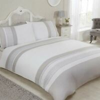 EMBROIDERED FLORAL BANDS WHITE COTTON BLEND DOUBLE DUVET COVER