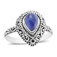 BALI LEGACY 925 Sterling Silver Blue Tanzanite Solitaire Ring Size 10 Ct 1.4