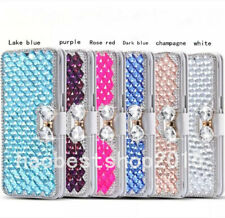 Sparkly Crystals Diamonds Leather Wallet Cases For BlackBerry T-Mobile REVVL TCL