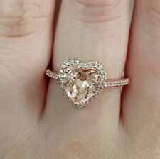 SALE! 14k Rose Gold Over Silver Heart Halo Morganite White Topaz Accent Ring SZ6