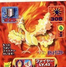 POKEMON STICKER Carte JAPANESE 50X50 1997 NORM@L N° 349 MOLTRES SULFURA