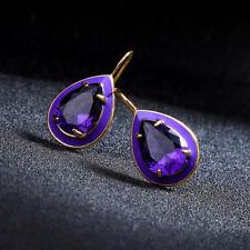 Boucles d'Oreilles Crochet Doré Goutte Cristal Email Violet Mauve Retro AA27