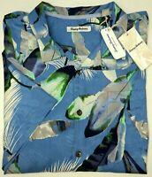 NWT $150 Tommy Bahama Short Sleeve Blue Floral Camp Shirt Mens 2XL 3XL Bluebell