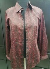 Talbots Red and Black Leopard Button Up Down Shirt Blouse Top Sz 14 NWT $69