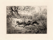 "LOOK Original Jules Jacques VEYRASSAT 1800s Detailed Etching ""Wolves"" SIGNED COA"