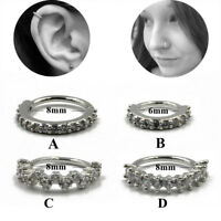 Silver CZ Hoop Nose Ring Daith  Snug Piercing Tragus Helix Cartilage Earring