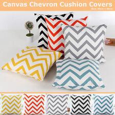 Chevron Zig--Zag Print Canvas Cotton Cushion Cover Home Decor Throw Pillow