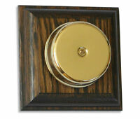 Wired Wall Mounted Underdome Brass Doorbell on a Solid Tudor Oak Plinth.