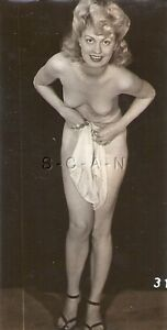Org Vintage 1940s-50s Nude Sepia RP- Blond- Pant Suit- Holds Panties- Bends Over