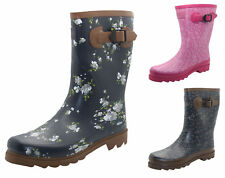 Womens Fashion Wellies Calf Length Wellington Ladies Festival Printed Boots Size
