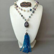 19'' 2rows Multi Color Sea shell Pearl Necklace CZ Blue Agate Pendant