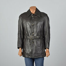 M 1960s Mens Brown Belted Leather Norfolk Jacket Fall Winter Outerwear 60s VTG