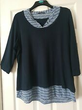 LADIES M&S LONG NAVY BLUE CASUAL TUNIC TOP WITH MOCK BLOUSE HEM SIZE 22